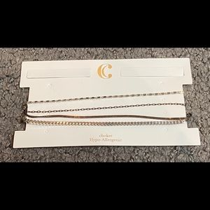 Charming Charlie Silver Multiple Chain Choker New